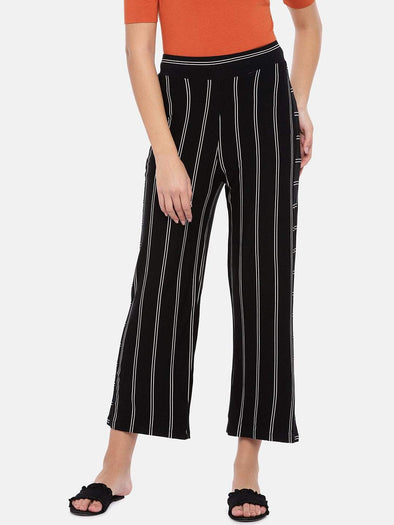 Women's Viscose Elastane Polyster Black/White Loose Fit Kpants Cottonworld Women's Culottes