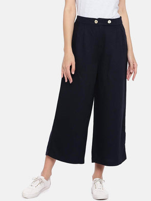 Women's Viscose Linen Navy Regular Fit Culotte Cottonworld Women's Culottes