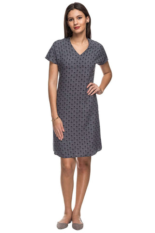 Cottonworld Women's Dresses 100% MODAL WOVEN NAVY REGULAR FIT DRESS