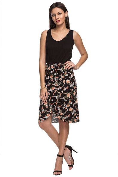 Rayon Black Regular Fit Dress Cottonworld Women's Dresses