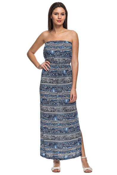 Cottonworld Women's Dresses 100% VISCOSE KNIT BLUE REGULAR FIT KDRESS