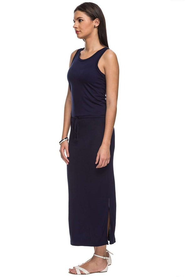 Cottonworld Women's Dresses 100% VISCOSE KNIT NAVY REGULAR FIT KDRESS