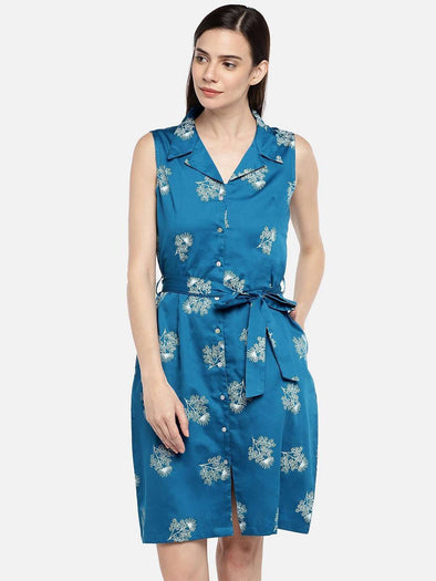Cottonworld Women's Dresses 77 CM-XSMALL / BLUE WOMEN'S 100% COTTON BLUE REGULAR FIT DRESS