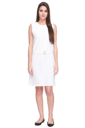 Cottonworld Women's Dresses WOMEN  100% COTTON WHITE REGULAR FIT KDRESS - 14467-17453-WHITE