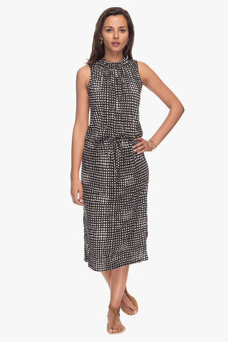 Cottonworld Women's Dresses Women Black Regular Aop Viscose Dress