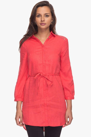 Cottonworld Women's Dresses Women Coral Regular Solid Linen Dress