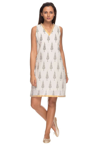 Cottonworld Women's Dresses Women Ecru Regular Printed Cotton Dress