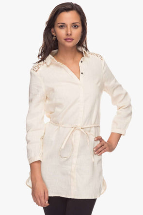 Women Ivory Regular Solid Linen Dress Cottonworld Women's Dresses