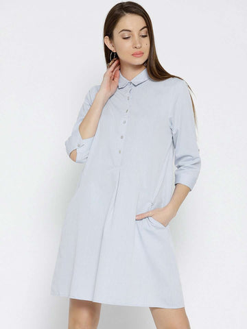 Cottonworld Women's Dresses WOMEN'S 100% COTTON BLUE REGULAR FIT DRESS