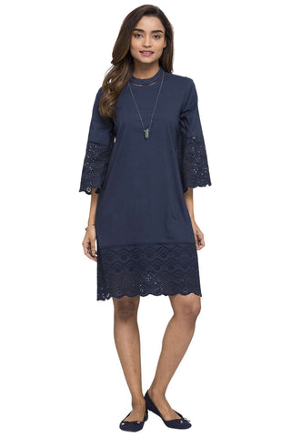 Cottonworld Women's Dresses WOMEN'S 100% COTTON NAVY REGULAR FIT DRESS