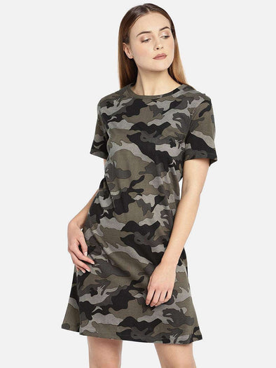 Cottonworld Women's Dresses WOMEN'S 100% COTTON OLIVE REGULAR FIT KDRESS