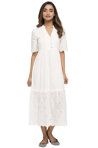 Cottonworld Women's Dresses WOMEN'S 100% COTTON WHITE A REGULAR FIT DRESS