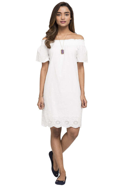Women's Cotton White Regular Fit Dress Cottonworld Women's Dresses