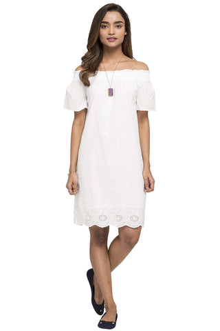 Cottonworld Women's Dresses WOMEN'S 100% COTTON WHITE REGULAR FIT DRESS