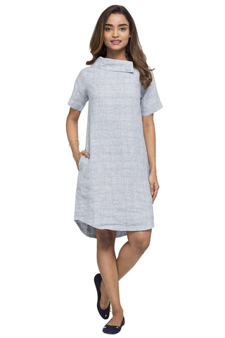 Cottonworld Women's Dresses WOMEN'S 100% LINEN BLUE REGULAR FIT DRESS