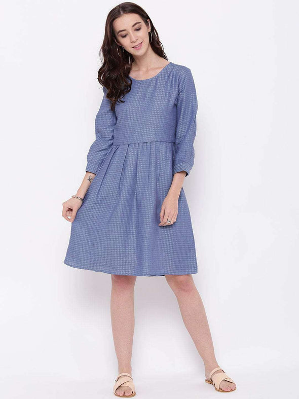 Women's Linen Blue Regular Fit Dress Cottonworld Women's Dresses