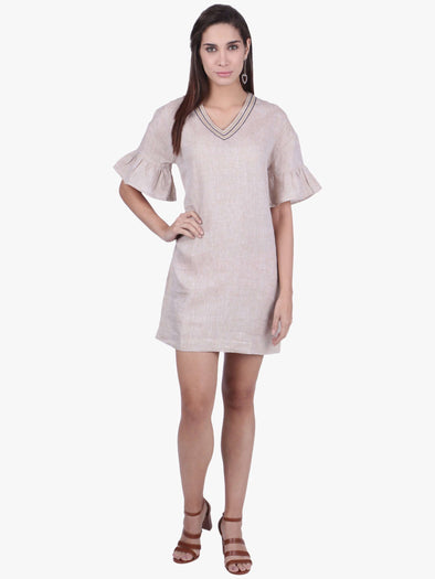 Cottonworld Women's Dresses WOMEN'S 100% LINEN KHAKI REGULAR FIT DRESS