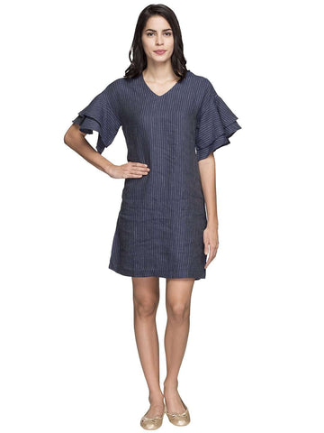 Cottonworld Women's Dresses WOMEN'S 100% LINEN NAVY REGULAR FIT DRESS