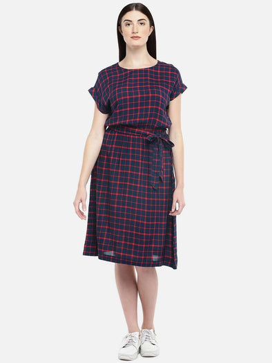 Women's Rayon Navy Regular Fit Dress Cottonworld Women's Dresses