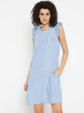 Cottonworld Women's Dresses WOMEN'S 100% TENCEL BLUE REGULAR FIT DRESS