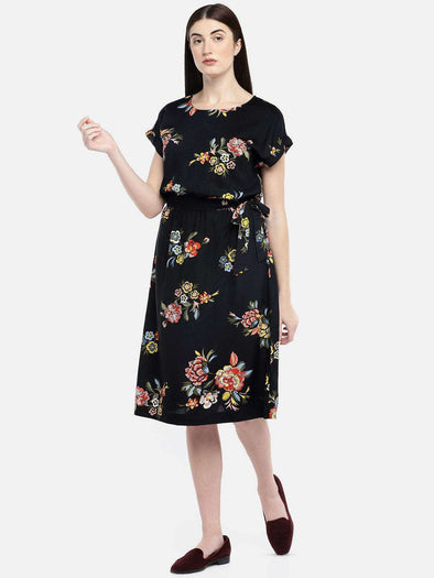 Cottonworld Women's Dresses WOMEN'S 100% VISCOSE BLACK REGULAR FIT DRESS