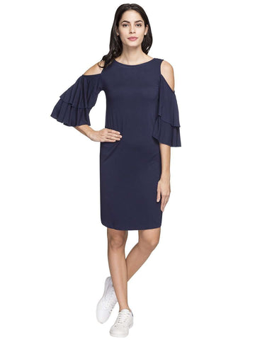 Cottonworld Women's Dresses WOMEN'S 100% VISCOSE NAVY REGULAR FIT KDRESS