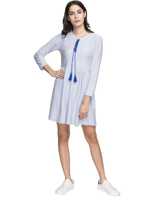 Cottonworld Women's Dresses WOMEN'S 50% COTTON 50% VISCOSE BLUE REGULAR FIT KDRESS
