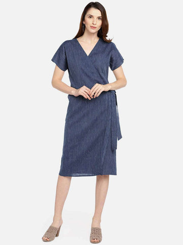 Cottonworld Women's Dresses WOMEN'S 60% LINEN 40% COTTON NAVY REGULAR FIT DRESS