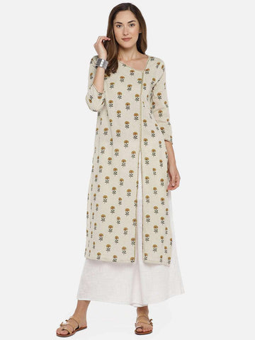Cottonworld Women's Dresses Women's 80% COTTON 20% FLAX MUSTARD REGULAR FIT KURTI