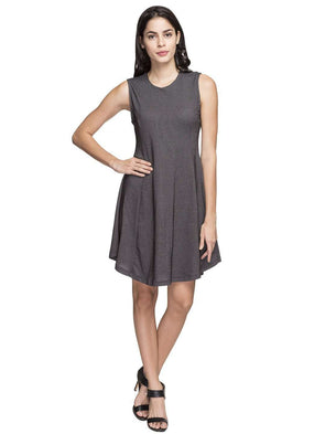 Cottonworld Women's Dresses WOMEN'S 83% COTTON 17% POLYSTER BLACK REGULAR FIT KDRESS