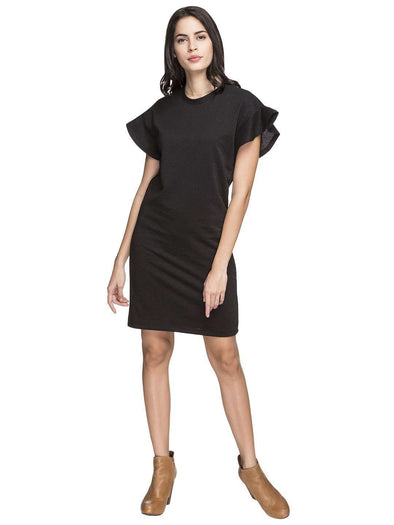 Cottonworld Women's Dresses WOMEN'S 86% COTTON 14% LUREX BLACK REGULAR FIT KDRESS