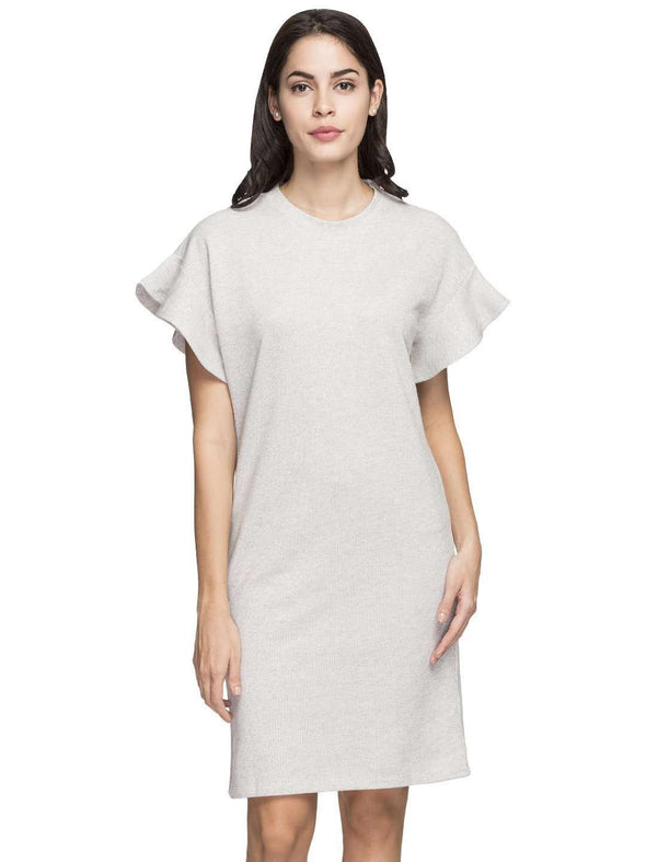 Cottonworld Women's Dresses WOMEN'S 86% COTTON 14% LUREX GREY MELAN REGULAR FIT KDRESS