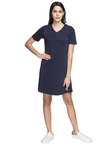 Cottonworld Women's Dresses WOMEN'S 86% COTTON 14% LUREX NAVY A line KDRESS