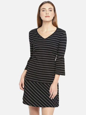 Cottonworld Women's Dresses WOMEN'S 95% COTTON 5% ELASTANE BLACK REGULAR FIT DRESS