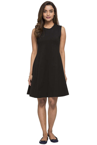 Cottonworld Women's Dresses WOMEN'S 95% COTTON 5% ELASTANE BLACK REGULAR FIT KDRESS
