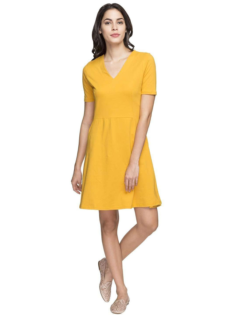 Cottonworld Women's Dresses WOMEN'S 95% COTTON 5% ELASTANE MUSTARD REGULAR FIT KDRESS