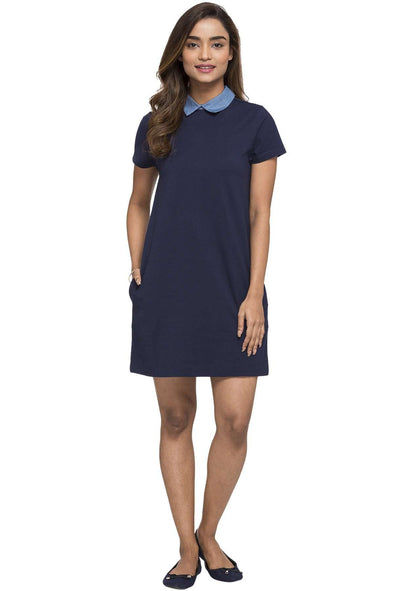 Cottonworld Women's Dresses WOMEN'S 95% COTTON 5% ELASTANE NAVY REGULAR FIT KDRESS