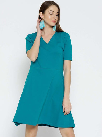 Women's Cotton Elastane Teal Regular Fit Kdress Cottonworld Women's Dresses