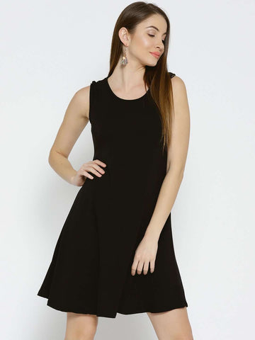 Cottonworld Women's Dresses WOMEN'S 95% VISCOSE 5% ELASTANE BLACK REGULAR FIT KDRESS