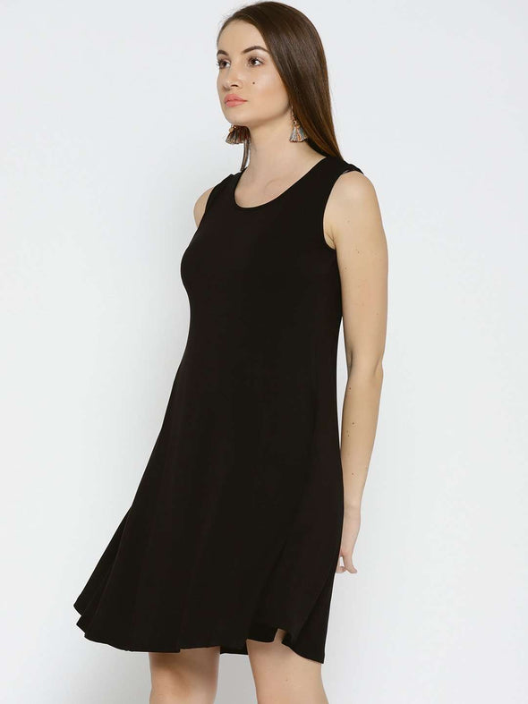 Women's Viscose Elastane Black Regular Fit Kdress Cottonworld Women's Dresses