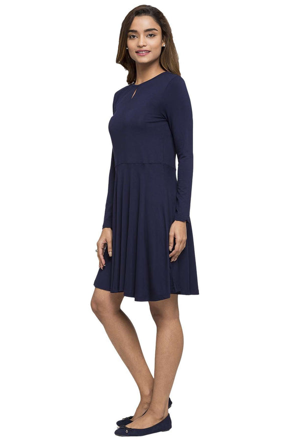 Cottonworld Women's Dresses WOMEN'S 95% VISCOSE 5% ELASTANE NAVY REGULAR FIT KDRESS