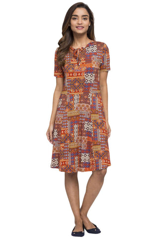 Cottonworld Women's Dresses WOMEN'S 95% VISCOSE 5% ELASTANE RUST REGULAR FIT KDRESS
