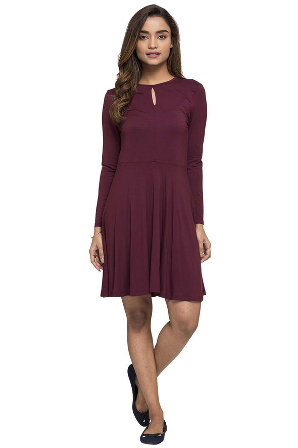 Cottonworld Women's Dresses WOMEN'S 95% VISCOSE 5% ELASTANE WINE REGULAR FIT KDRESS