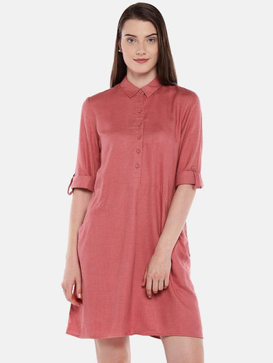 Cottonworld Women's Dresses Women's Cotton Coral Regular Fit Dress