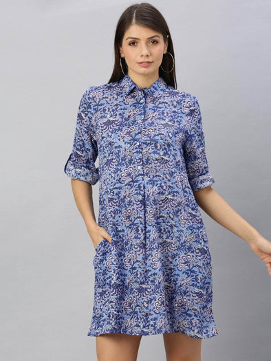 Women's Cotton Dark Blue Regular Fit Dress Cottonworld Women's Dresses