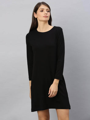 Cottonworld Women's Dresses Women's Cotton Elastane Black A Line Kdress