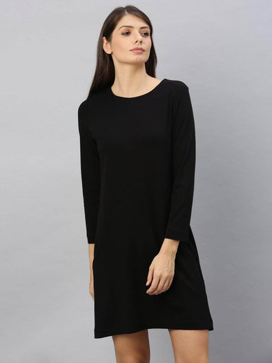 Women's Cotton Elastane Black A Line Kdress Cottonworld Women's Dresses