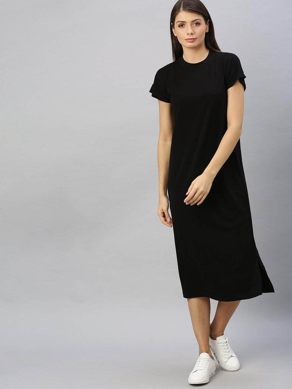 Cottonworld Women's Dresses Women's Cotton Elastane Black Regular Fit Kdress