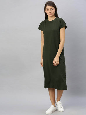 Cottonworld Women's Dresses Women's Cotton Elastane Olive Regular Fit Kdress