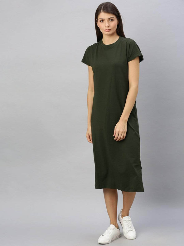 Women's Cotton Elastane Olive Regular Fit Kdress Cottonworld Women's Dresses